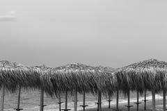 Möte av en ny dag på gryning på kusten av ett lugna hav i Royaltyfri Fotografi
