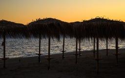 Möte av en ny dag på gryning på kusten av ett lugna hav i sanden Royaltyfri Bild