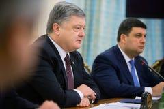 Möte av nationell säkerhet- och försvarrådet i Kiev, Ukrain Arkivfoto