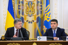 Möte av nationell säkerhet- och försvarrådet i Kiev, Ukrain Fotografering för Bildbyråer