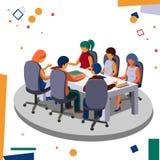 Möte av personalen i kontoret i konferensrummet Affär och kontor royaltyfri fotografi