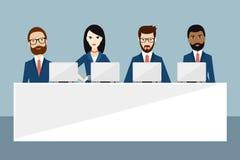 Möte eller konferens av chefer, presentation, anförande, ledarskap, toppmöte, affärsutbildning vektor illustrationer