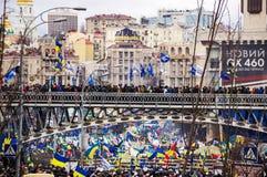 Möte för europeisk integration i mitt av Kiev Arkivfoto