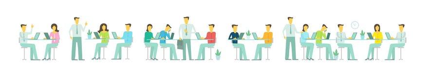 Möte för folk för affär för lag för kontor för illustration för platstitelrad sitter långt fastställt diskuterande på tabellarbet vektor illustrationer