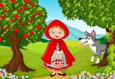 Möte för liten röd ridninghuv med en varg royaltyfri illustrationer