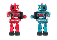 Möte för två robotar Arkivbild