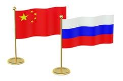 Möte Kina med det Ryssland begreppet Royaltyfria Foton