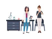 Möte mellan den unga sjuka kvinnan och doktor eller medicinsk konsulent på sjukhuset Den kvinnliga patienten kom till kontoret fö royaltyfri illustrationer