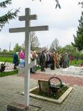 Möteförsamling av den ortodoxa kyrkan i den Kaluga regionen (Ryssland) med ortodoxa cyklist-kristen i 2014 royaltyfria foton
