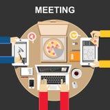 Möteillustration modell 3D Plana designillustrationbegrepp för teamwork, lag, möte, diskussion, affär som äter Royaltyfri Fotografi