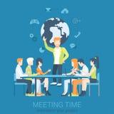 Mötepresentation och infographic plan vektor för kläckning av ideer stock illustrationer