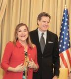 Möter den kongress- delegationen för Förenta staterna Israel President arkivfoto