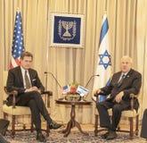 Möter den kongress- delegationen för Förenta staterna Israel President royaltyfria foton