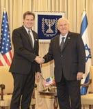 Möter den kongress- delegationen för Förenta staterna Israel President fotografering för bildbyråer