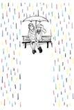 Mötesplats i regnet Förälskat sammanträde för par på bänken Arkivbild