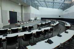 Mötesrum inom Bundestagen arkivfoto