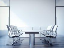 Mötesrum med en stor tabell och stolar framförande 3d Arkivbild