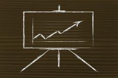 Mötesrumwhiteboardställning med den positiva statistik-grafen Arkivfoton