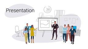 Mötet för konferensen för Businesspeoplegrupputbildning bläddrar för presentationsbegrepp för diagram finansiell teamwork för fol vektor illustrationer