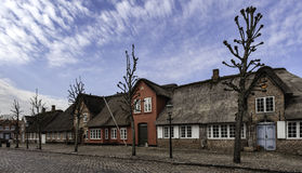 Mainstreet在丹麦村庄, Møgeltønder 免版税库存图片