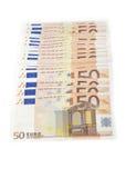 Múltiplo 50 euro- notas Fotos de Stock