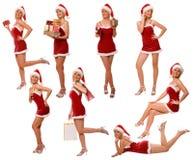 Múltiplo da mulher do Natal fotos de stock royalty free