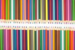 Múltiplo del lápiz de los colores fijado en blanco Imagen de archivo libre de regalías