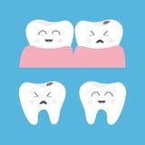 Mún icono sonriente enfermo gritador sano de la goma del diente Juego de caracteres lindo Higiene dental oral Cuidado de los dien Fotos de archivo