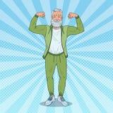Músculos de Art Mature Senior Man Showing do PNF Avô forte feliz Estilo de vida saudável ilustração royalty free