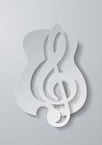 Música abstracta Clave de sol cortada del Libro Blanco Backgrou de la guitarra Fotografía de archivo libre de regalías