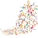 A música abstrata nota o fundo, vetor Fotografia de Stock