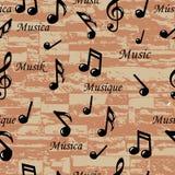 A música abstrata nota o teste padrão sem emenda. Fundo do vetor (papel de parede). Imagem de Stock