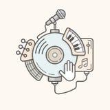 A música abstrata utiliza ferramentas a linha ícone Imagem de Stock