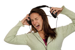 Música alta de escuta da mulher Imagem de Stock