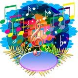 A música anota a bandeira Imagem de Stock