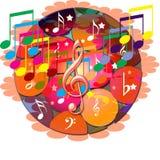 A música anota a bandeira ilustração stock