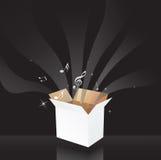 A música anota a caixa mágica Imagem de Stock Royalty Free