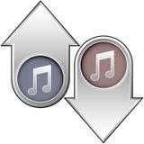 A música anota o ícone sobre acima e para baixo setas Imagens de Stock Royalty Free