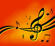 A música anota o fundo Imagens de Stock Royalty Free