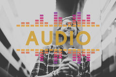 A música audio do equalizador de Digitas ajusta o conceito do gráfico da onda sadia Imagens de Stock Royalty Free