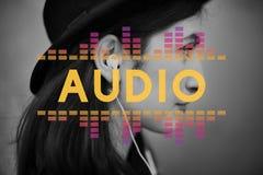 A música audio do equalizador de Digitas ajusta o conceito do gráfico da onda sadia foto de stock royalty free