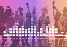 A música audio do equalizador de Digitas ajusta o conceito do gráfico da onda sadia fotos de stock royalty free