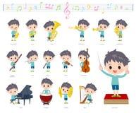 Música boy_classic da roupa azul ilustração stock