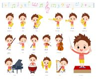 Música boy_classic da roupa vermelha ilustração stock