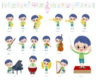 Música boy_classic dos vidros verdes da roupa ilustração stock