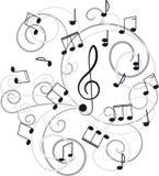 Música. Clef e notas de triplo para seu projeto. Fotografia de Stock Royalty Free