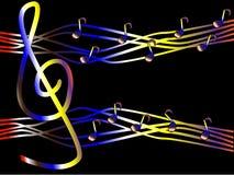 Música colorida bajo la forma de clave de sol y notas Imagen de archivo libre de regalías