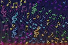 A música colorida bonita nota o fundo Imagem de Stock