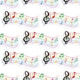 A música colorida sem emenda nota o teste padrão Fotografia de Stock Royalty Free