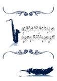 Música com vintage velho do Quill Imagens de Stock
